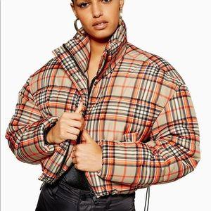 Topshop checkered puffer jacket